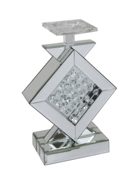 Floating Crystals Silver Candle Stick 29cm x 20cm
