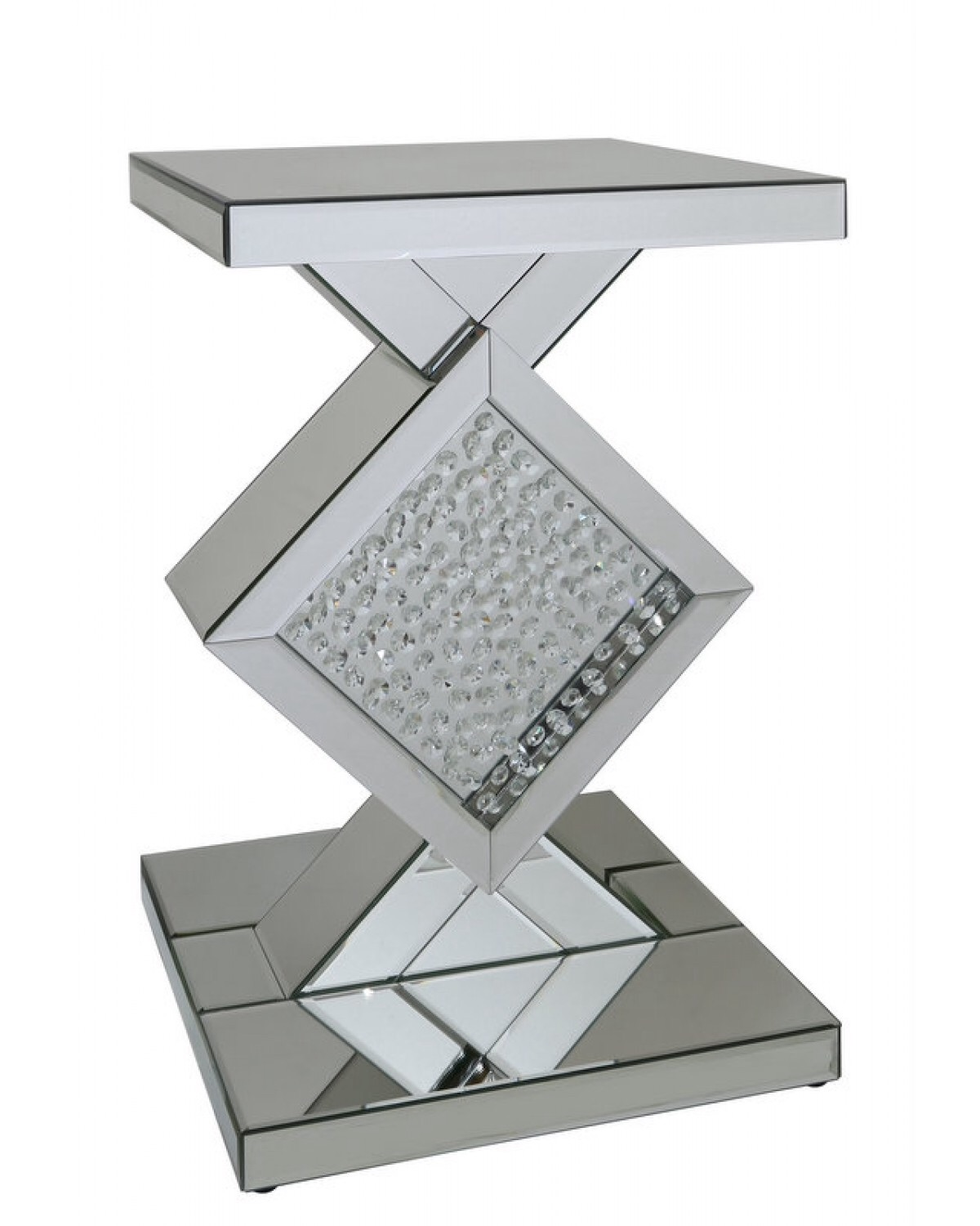 Floating Crystals In Silver Shaped Mirrored Lamp Table