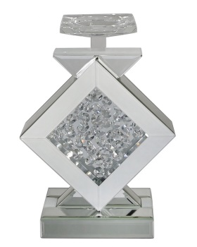 Floating Crystals Silver & White Candle Stick 24cm x 20cm