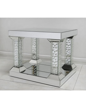 Floating Crystals Silver Pillar Mirrored Lamp Table 51cm x 51cm x 61cm