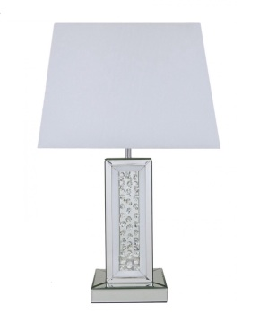 Floating Crystals column Mirrored Lamp in White & Silver
