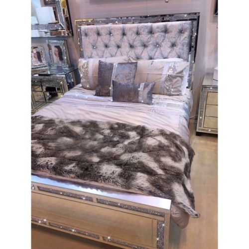 diamond crush sparkle crystal mirrored milano king size bed frame - Mirrored Bed Frame