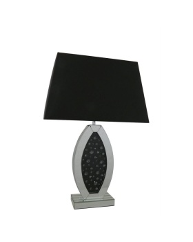 Black Jewel Floating Crystals Mirrored Oval Lamp medium