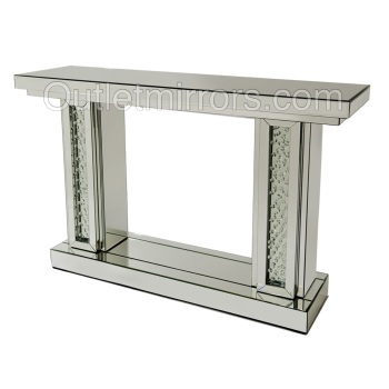 Floating Crystals Pillar Mirrored Console Table