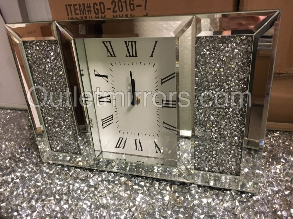 New Diamond Crush Sparkle Crystal Mirrored Mantle Clock