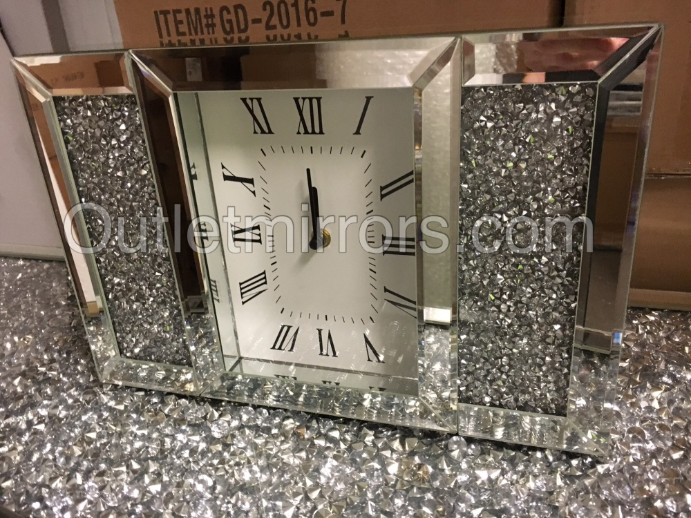 * New Crush Sparkle Crystal Mirrored Mantle Clock item in stock