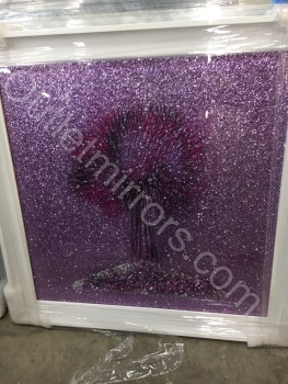 Sparkle Glitter Tree in Pink / Purple shimmer in a white stepped frame