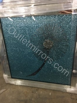 Sparkle Glitter shimmer Flower in Turquoise in a Mirrored frame