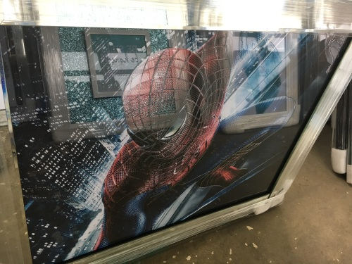 Sparkle Glitter Spiderman wall art  in a Mirrored frame