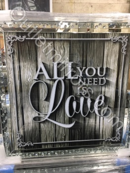 """All you need in love"" Wall Art in Mirrored Floating Cystals Frame"
