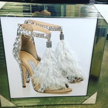 """Glitter Sparkle London Feather Shoe"" in mirror frame 57cm x 57cm"