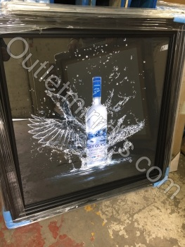 ** Grey Goose  Glitter Art Mirrored Frame ** Black frame or mirror frame 87cm x 87cm large