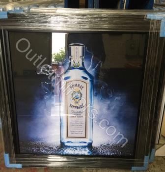 ** Bombay Sapphire Glitter Art in a black frame or Mirrored Frame ** 87cm x 87cm