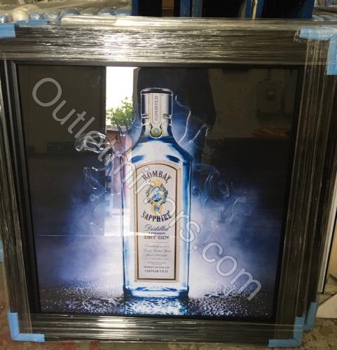 ** Bombay Sapphire Glitter Art Mirrored Frame ** 87cm x 87cm