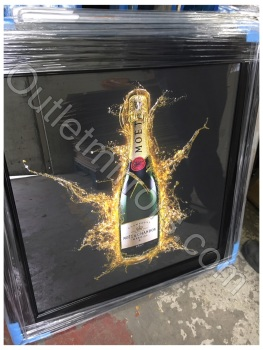 ** Moet Champagne Glitter Art in black frame or Mirrored Frame ** 87cm  x 87cm