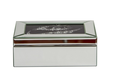 Black Sparkle Mirrored Jewel Box