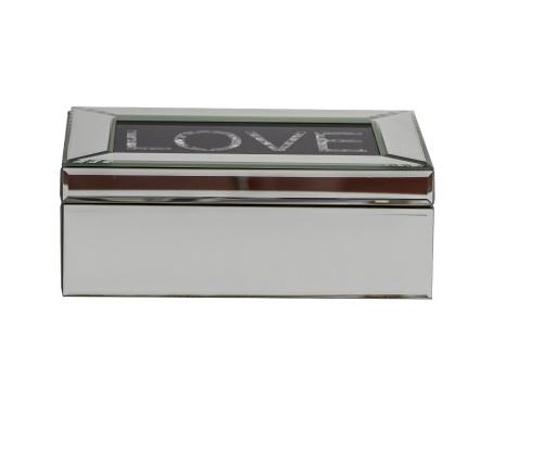 Black Sparkle Love Mirrored Jewel Box