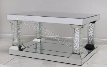 New Floating Crystal silver Mirrored Pillar coffee Table 90cm x 60cm x 47cm