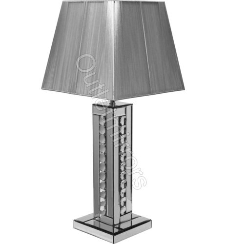 Crystal border Silver Mirrored Table Lamp with silver shade