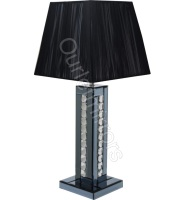 Crystal border Smoked Mirrored Table Lamp with Black shade