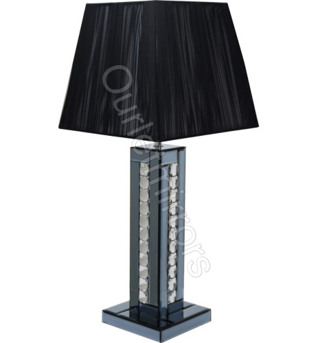 Crystal border silver mirrored table lamp with black ahade by crystal border smoked mirrored table lamp with black shade mozeypictures Gallery