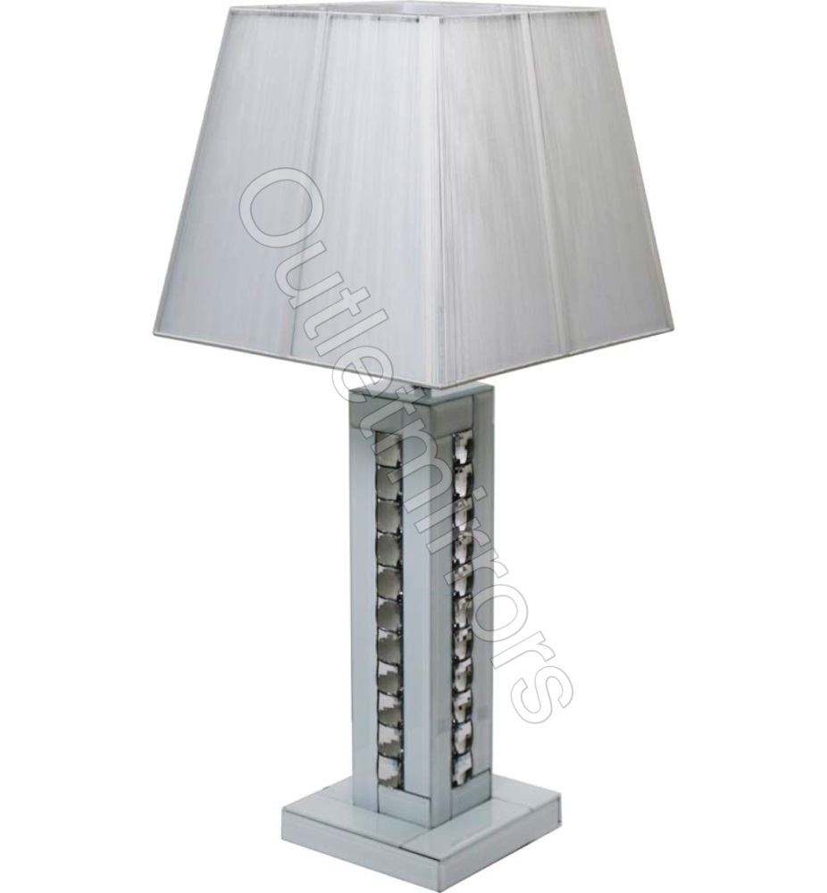Crystal border White Mirrored Table Lamp with white shade