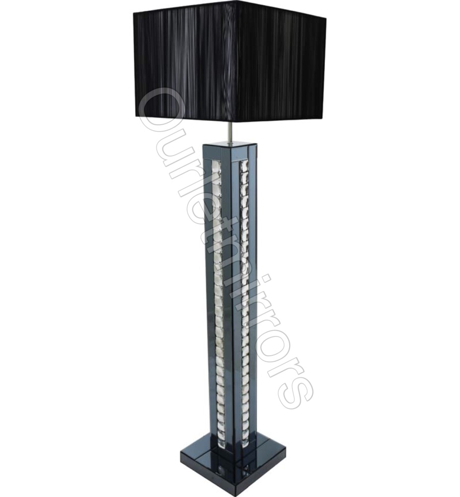 Crystal border Smoked Mirrored Floor Lamp with Black  shade