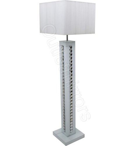 Crystal border Silver Mirrored Table Lamp with white shade by ...