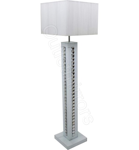 Crystal border silver mirrored table lamp with white shade by crystal border white mirrored floor lamp with white shade aloadofball Choice Image