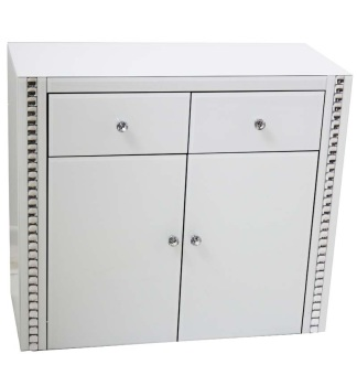 Crystal Border White Mirrored 2 Draw 2 Door Sideboard