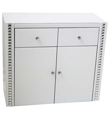 New Crystal Border White Mirrored 2 Draw 2 Door Sideboard