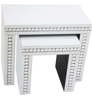 Crystal Border White Mirrored Nest of 2 Tables
