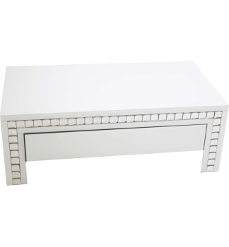 Crystal Border White Mirrored Coffee Table