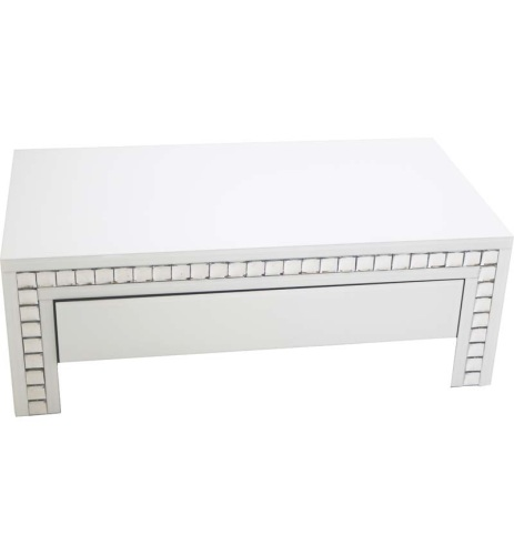 New Crystal Border White Mirrored Coffee Table