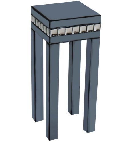 Crystal Border Smoked Grey Mirrored Lamp Table