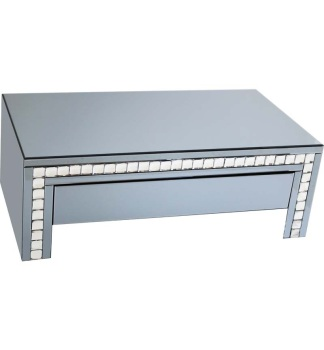 Crystal Border Smoked Grey Mirrored Coffee Table