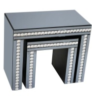Crystal Border Smoked Grey Mirrored Nest of 2 Tables