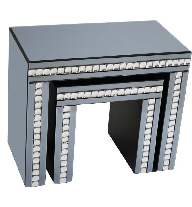 New Crystal Border Smoked Mirrored Nest of 2 Tables