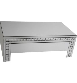 Crystal Border Silver Mirrored Coffee Table
