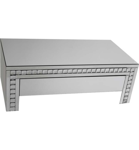 New Crystal Border Silver Mirrored Coffee Table