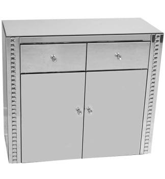 Crystal Border Silver Mirrored 2 Draw 2 Door Sideboard