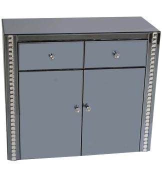 Crystal Border Smoked Grey Mirrored 2 Draw 2 Door Sideboard
