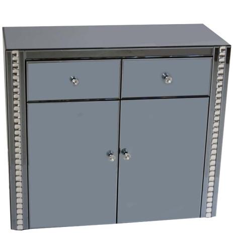 New Crystal Border Smoked Grey Mirrored 2 Draw 2 Door Sideboard
