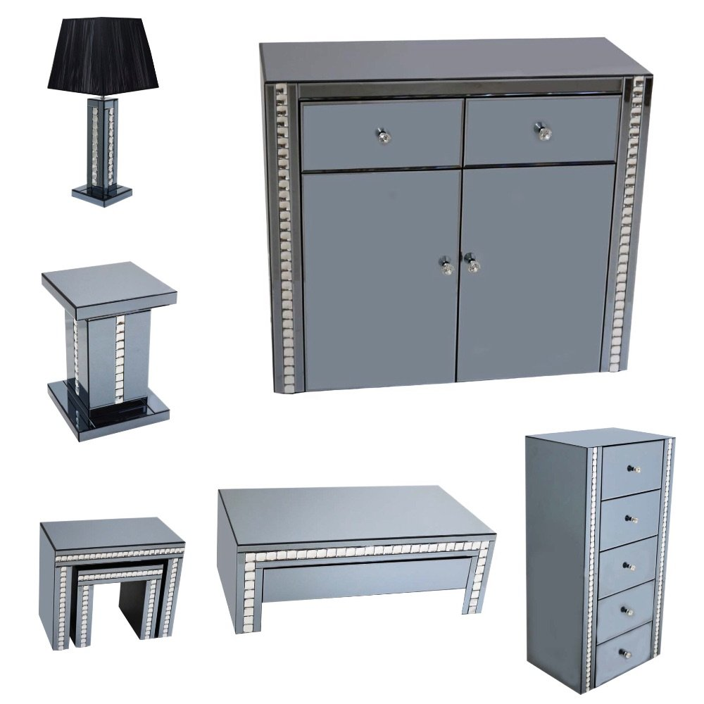 **Smoked Grey Mirrored Furniture