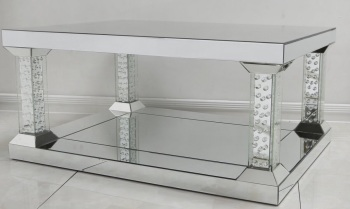 New Floating Crystal silver Mirrored Pillar coffee Table Extra large