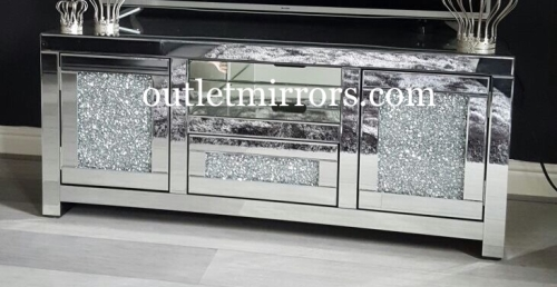 **Pre order * Diamond Crush Sparkle Mirrored TV Entertainment Unit
