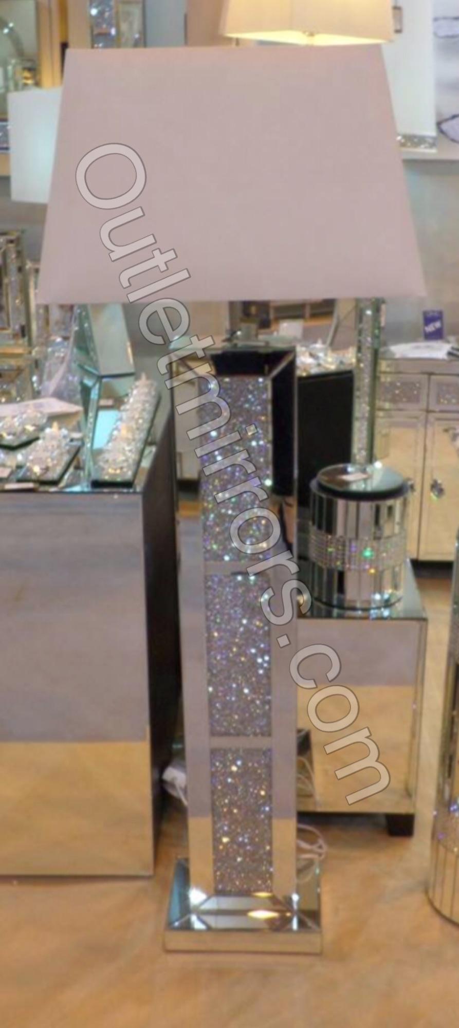 Crush Sparkle Mirrored Tall Floor Lamp 56cm x 34cm x 155cm