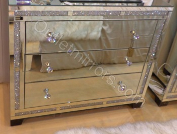 *Diamond Crush Sparkle Crystal Mirrored Milano 3 draw Large Chest