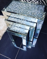 * Diamond Crush Crystal Nest of 3 Tables item in stock