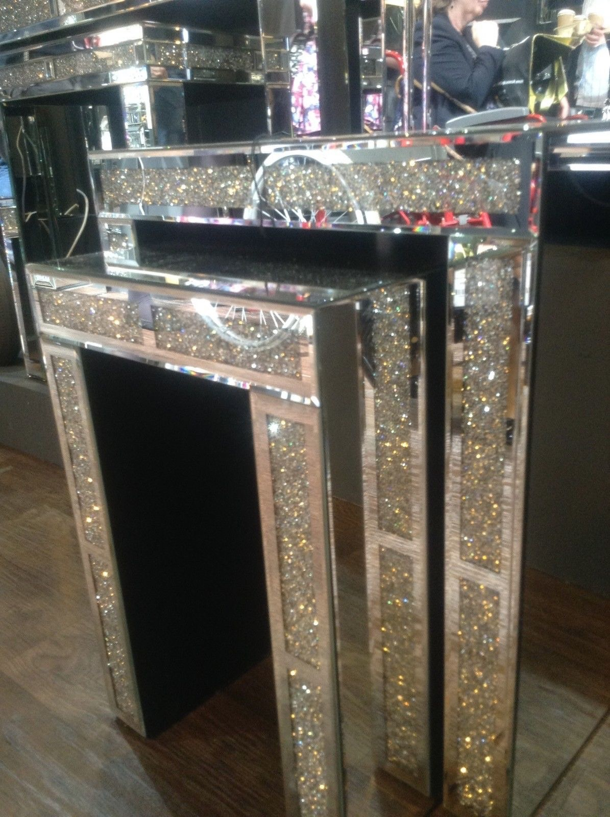 Crush Sparkle Crystal Mirrored Nest of Tables item instock